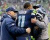 Seattle Seahawks wide receiver Percy Harvin (11) is helped off the field after being injured during the second quarter of an NFC divisional playoff NFL football game against the New Orleans Saints in Seattle, Saturday, Jan. 11, 2014.