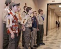 This Wednesday, April 16, 2014 photo provided by the Boy Scouts of America shows Peyton Manning talking to a group of scouts before he spoke to the Boy Scouts of America's annual breakfast in Denver. It was his first public comments since the Denver Broncos were trounced by Seattle from the opening snap of the Super Bowl.