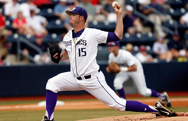 Washington pitcher Will Ballowe (15) throws against Mississippi in the first inning of an NCAA college baseball regional tournament championship game in Oxford, Miss., Monday, June 2, 2014.