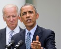 President Barack Obama, accompanied by Vice President Joe Biden, speaks about immigration reform, Monday, June 30, 2014, in the Rose Garden of the White House in Washington. The president said he's done waiting for House Republicans to act on immigration. He says he now plans to act on his own. Obama announced his intention Monday to take executive action.
